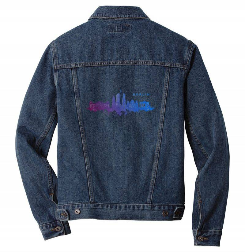 Berlin Watercolor Skyline Men Denim Jacket | Artistshot