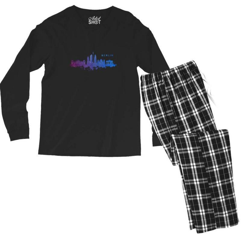 Berlin Watercolor Skyline Men's Long Sleeve Pajama Set   Artistshot