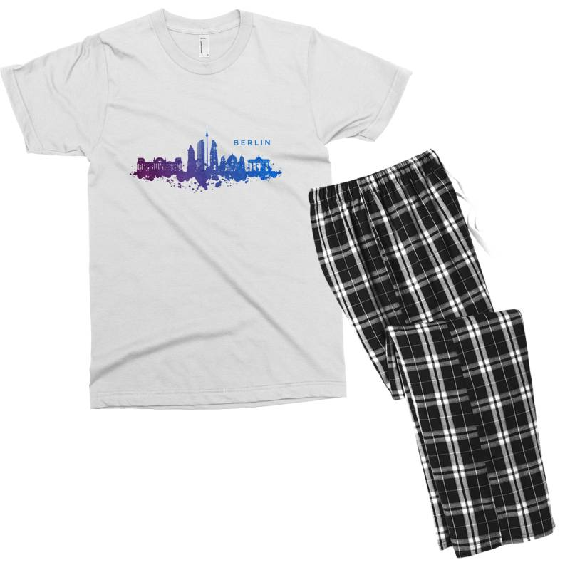 Berlin Watercolor Skyline Men's T-shirt Pajama Set | Artistshot