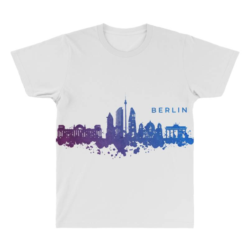 Berlin Watercolor Skyline All Over Men's T-shirt | Artistshot