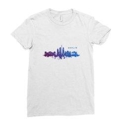 berlin watercolor skyline Ladies Fitted T-Shirt   Artistshot