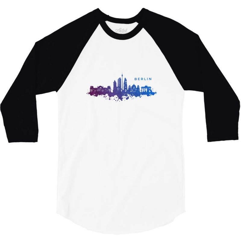 Berlin Watercolor Skyline 3/4 Sleeve Shirt | Artistshot
