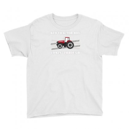 Case Ih Red Tractor Boy Comin' Through Youth Tee Designed By Mdk Art