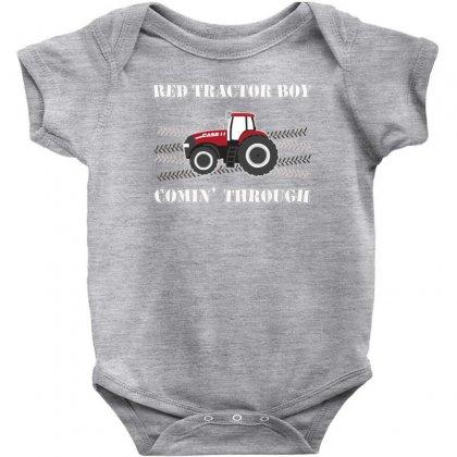 Case Ih Red Tractor Boy Comin' Through Baby Bodysuit Designed By Mdk Art