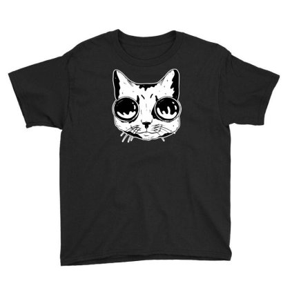 Cat With Goggles Youth Tee Designed By Dirjaart
