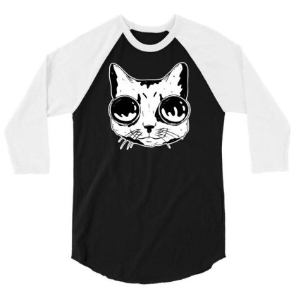 Cat With Goggles 3/4 Sleeve Shirt Designed By Dirjaart