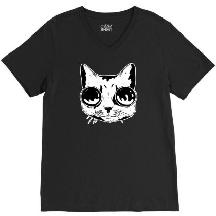 Cat With Goggles V-neck Tee Designed By Dirjaart
