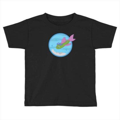 Cucumber Green Fish Toddler T-shirt Designed By Dirjaart