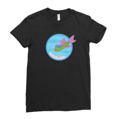 Cucumber Green Fish Ladies Fitted T-shirt Designed By Dirjaart