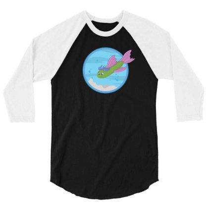 Cucumber Green Fish 3/4 Sleeve Shirt Designed By Dirjaart