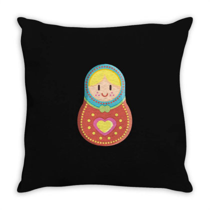 Cute Matryoshka Russian Doll Colorful Throw Pillow Designed By Dirjaart
