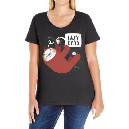 Cute Sloth Ladies Curvy T-shirt Designed By Dirjaart