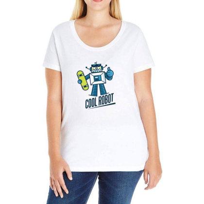 Cute Robot Ladies Curvy T-shirt Designed By Dirjaart