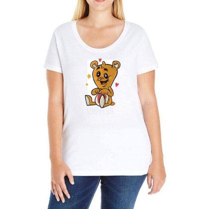 Cute Tedy Bear Ladies Curvy T-shirt Designed By Dirjaart