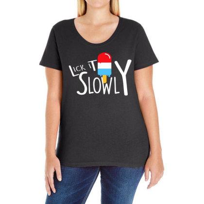 Lick It Slowly Popsicle Junior Fit Ladies Curvy T-shirt Designed By Satrio Art