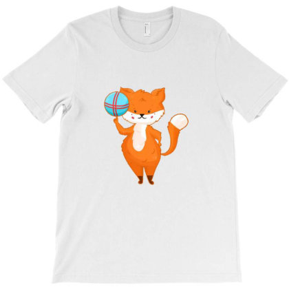 Funny And Cute Fox In Cartoon Style T-shirt Designed By Wd650