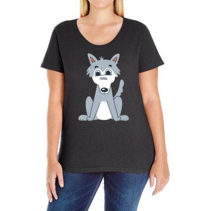 Cute Wolf Ladies Curvy T-shirt Designed By Dirjaart