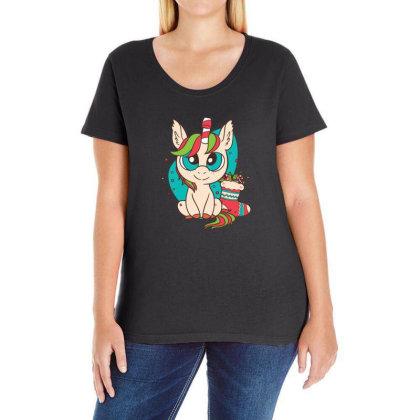 Cute Xmas Unicorn Ladies Curvy T-shirt Designed By Dirjaart