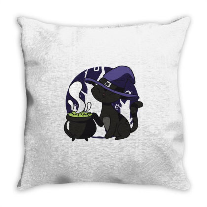 Cute Witch Cat Throw Pillow Designed By Dirjaart