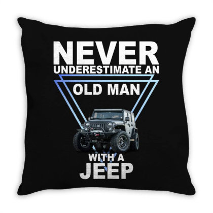 Never Underestimate An Old Man With A Jeep For Dark Throw Pillow Designed By Gurkan