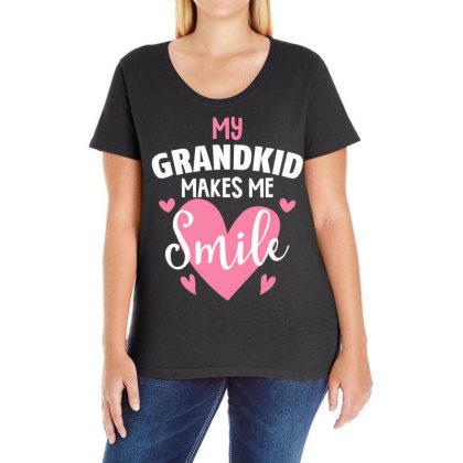 My Grandkıd Makes Me Smile For Dark Ladies Curvy T-shirt Designed By Gurkan
