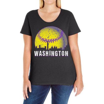 Washington Baseball Ladies Curvy T-shirt Designed By Gurkan
