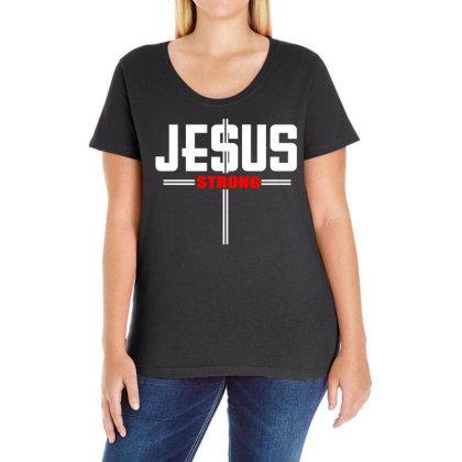 Jesus Strong Ladies Curvy T-shirt Designed By Satrio Art