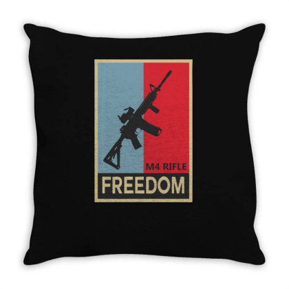 Infantry M4 Rifle Freedom Carbine Throw Pillow Designed By Satrio Art