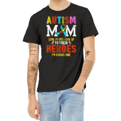 Autism Mom Some People Look Up To Their Heroes For Dark Heather T-shirt Designed By Sengul