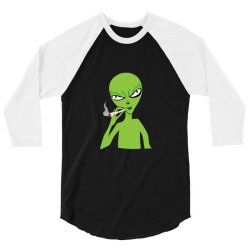 funny green alien smoking 3/4 Sleeve Shirt | Artistshot