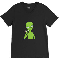 funny green alien smoking V-Neck Tee | Artistshot