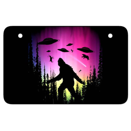 Bigfoot Ufos In Forest Atv License Plate Designed By Ricklers