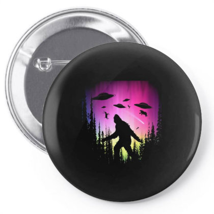 Bigfoot Ufos In Forest Pin-back Button Designed By Ricklers