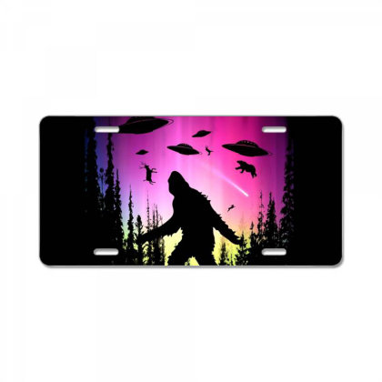 Bigfoot Ufos In Forest License Plate Designed By Ricklers
