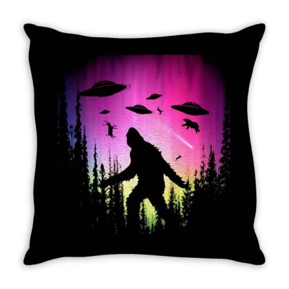 Bigfoot Ufos In Forest Throw Pillow Designed By Ricklers