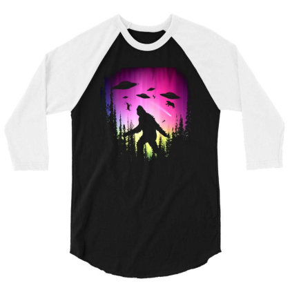 Bigfoot Ufos In Forest 3/4 Sleeve Shirt Designed By Ricklers