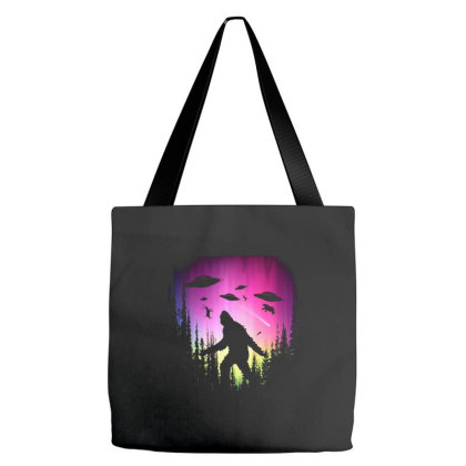 Bigfoot Ufos In Forest Tote Bags Designed By Ricklers