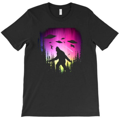 Bigfoot Ufos In Forest T-shirt Designed By Ricklers