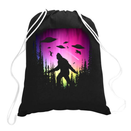 Bigfoot Ufos In Forest Drawstring Bags Designed By Ricklers