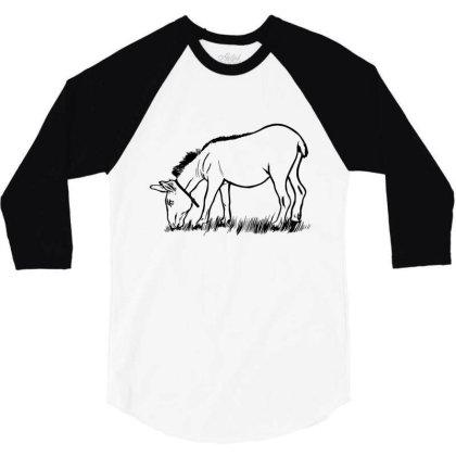 Donkey Eating 3/4 Sleeve Shirt Designed By Dirjaart