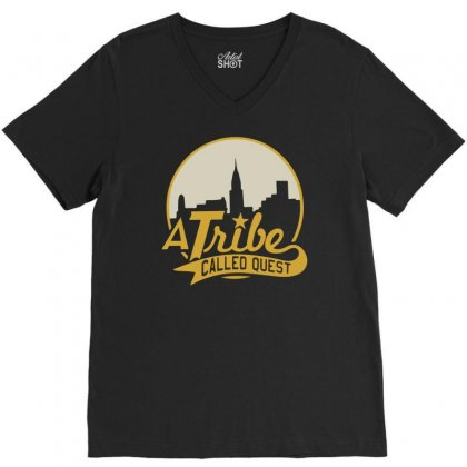 A Tribe Called Quest City Skyline Atcq V-neck Tee Designed By Mdk Art