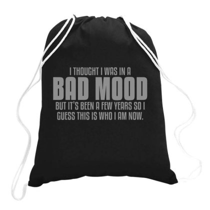 Bad  Mood Drawstring Bags Designed By H3lm1