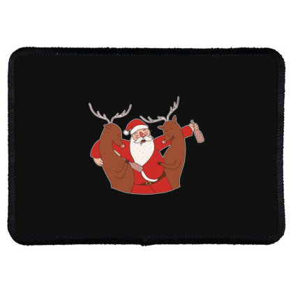 Drunk Santa Rectangle Patch Designed By Dirjaart