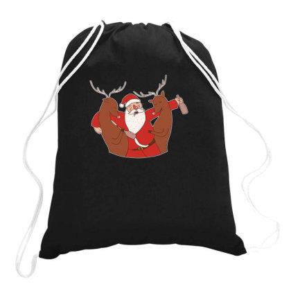 Drunk Santa Drawstring Bags Designed By Dirjaart