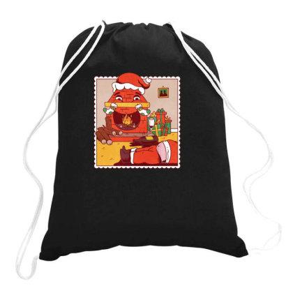 Drunk Santa Christmas Drawstring Bags Designed By Dirjaart