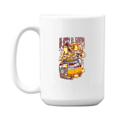 Be Happy Be Combi 15 Oz Coffe Mug Designed By H3lm1