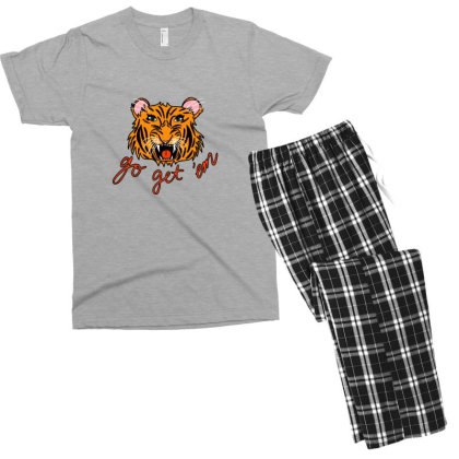 Go Get 'em Tiger Men's T-shirt Pajama Set Designed By Asatya