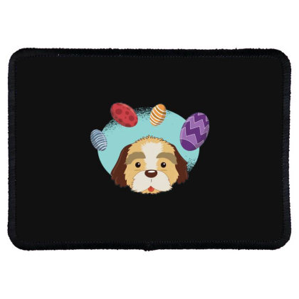 Easter Dog Rectangle Patch Designed By Dirjaart