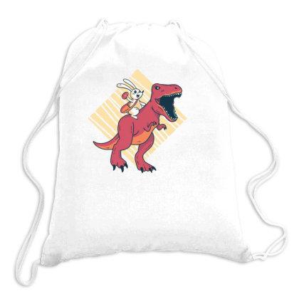 Easter Dinosaur (2) Drawstring Bags Designed By Dirjaart