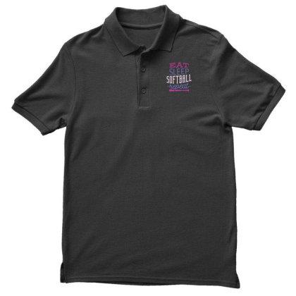 Eat Sleep Softball Repeat Men's Polo Shirt Designed By Dirjaart